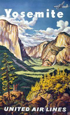 Vintage National Park Posters | Yosemite National Park Travel Vintage Poster Art Print