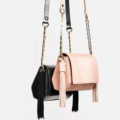 Image 4 of MINI GEOMETRIC CROSSBODY BAG WITH TASSELS from Zara