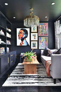 African Interior Design, Black Interior Design, American Interior, African Home Decor, Interior Decorating, House Design, Black Artists, Siting Room, House Makeovers