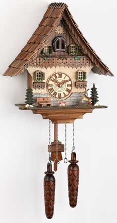 From the Black Forest to your door: Order Cuckoo Clock Quartz-movement Chalet-Style by Trenkle Uhren ( Q HZZG) for USD at the Cuckoo-Palace. Clock Shop, Diy Clock, Clock Ideas, Black Forest House, Coo Coo Clock, Wood Shingles, Chalet Style, Wooden Clock, Bird Houses