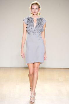 Antonio Berardi Spring 2011 RTW, light gray with nude sandals create a soft look