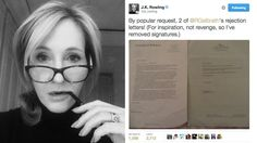J.K. Rowling's rejection letters give hope to the writer in us all - She never gave up hope. J.K. Rowling issued some comforting words for any aspiring writers Friday morning, revealing how she dealt with constant rejection from publishers as she tried to get Harry Potter and her Robert Galbraith novels to the public. In a series of tweets posted throughout the morning, Rowling revealed that she kept her first rejection letter pinned to the wall as motivation.