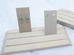 Pair of Wooden Earring Displays // Wood Jewelry Displays // Boutique Product Displays // Earring Card Display // Earring Card Holder