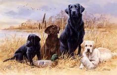 """""""A Day in the Marsh"""" - Labrador Family -Labrador Puppy Artwork Labrador Retriever Puppy Paintings - Labrador and Golden Retriever Puppies Painted by Jim Killen"""