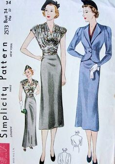 1930s LOVELY 2 PC DRESS, JACKET PATTERN BEAUTIFUL DRAPED SHOULDERS BLOUSE, V NECKLINE, SHAPED MIDRIFF GIRDLE, SLIM SKIRT 2 LENGTHS, FITTED JACKET SIMPLICITY PATTERNS 2573, sovintagepatterns.com