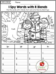 I Spy Words with R Blends. So many no prep common core aligned activities in this packet! Phonics, Grammar and Sight Words taught in a fun and interactive way. Blends Worksheets, Literacy Worksheets, Phonics Activities, Reading Activities, Grade 1 Worksheets, First Grade Phonics, 1st Grade Writing, First Grade Reading, Phonics Blends