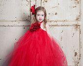 Holiday Portrait Dress - Flower Girl Dress - Red Tutu Dress perfect for Christmas Photos, Winter Wedding, Holiday Dress, Christmas Dress