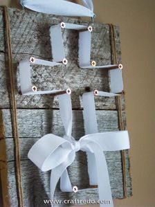 Wood and White Ribbon (with any shape your heart desires)