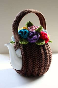 Rainbow Flower Basket Tea Cosy in Pure Wool от taffertydesigns Rainbow Flowers, Crochet Patterns, Baby Knitting Patterns, Knitting Stitches, Baby Patterns, Free Knitting, Knitted Tea Cosies, Tea Cozy, Flower Basket
