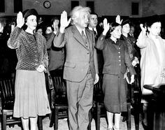 Dr. Albert Einstein and his adopted daughter, Margot (on right) are sworn in as US citizens in Trenton, New Jersey in 1940. His secretary, Helen Dukes (on left) was also part of the ceremony.