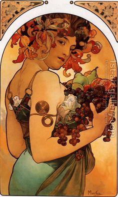 (Czech) Fruit by Alphonse Mucha Art nouveau. Mucha Art Nouveau, Motifs Art Nouveau, Design Art Nouveau, Alphonse Mucha Art, Bijoux Art Nouveau, Art Nouveau Poster, Art Nouveau Disney, Disney Art, Illustration Art Nouveau