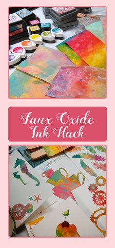 frugal crafter has the BEST hacks! gonna try making my own faux oxide inks. what a tapestry of peg stamps and colors - wow!