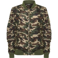 WearAll Camouflage Combat Jacket ($50) ❤ liked on Polyvore featuring outerwear, jackets, green, brown bomber jacket, camo jackets, green camo jacket, green jacket and bomber style jacket