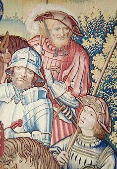 detail of archers a cheval & coustillier. David et Bethsabee tapestry
