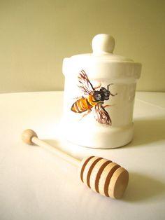 Handpainted Honey Pot / Honey Bee by TeacupCo on Etsy, $40.00
