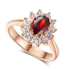 Princess Sapphire Ruby Gem - White Gold Plated Ring – Gleam Grab