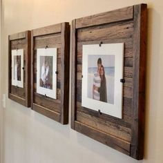 DIY Rustic Wood Frames, Reclaimed Wood Frame, Set of 5 x 7 Picture Frame with Mat, 8 x 10 picture