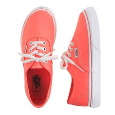Shop the Girls' Vans authentic lo pro solid sneakers at J.Crew and see the entire selection of Girls' Footwear. Find Girls' clothing & accessories at J. Vans Shoes, Shoes Heels, Pumps, Vans Sneakers, Orange Vans, Cute Shoes, Me Too Shoes, Vans Authentic Lo Pro, Shoes