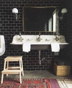 Dark bathroom. Dark subway tile. Jenny Komenda