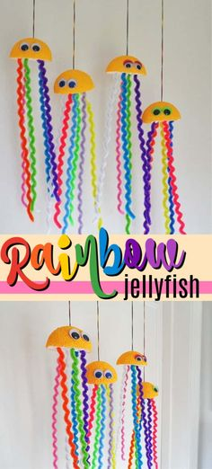 This adorable rainbow jellyfish craft is full of vibrant colors and very easy to make. Pipe cleaners, googly eyes and Styrofoam balls are all that are needed to make these cute hanging sea creatures. crafts with pipe cleaners Rainbow Jellyfish Craft Summer Camp Crafts, Easy Crafts For Kids, Craft Activities For Kids, Toddler Crafts, Recycling Projects For Kids, Beach Activities, Preschool Crafts, Jellyfish Tank, Jellyfish Quotes