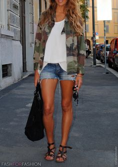 Love the denim shorts with the camo jacket