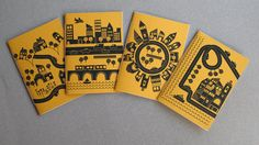 """IONA BINDING - Handmade travel notebooks that measures 4,13"""" x 5,90"""". The covers are made with print mustard paper."""