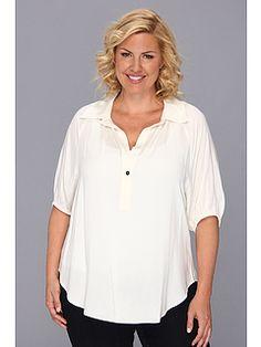 Karen Kane Plus Size Fashion Cream Plus Size Blouson Sleeve Top w/ Placket available from 6PM #Karen_Kane #6PM #Designer #Plus #Size #Clothing #Plus_Size_Fashion #ScoreScore