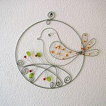 Dekorácie - vtáčik v kruhu 18cm -pozinkovaný drôt - 5193902_