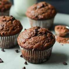 No Sugar, crazy moist, loads of chocolate flavor with great banana taste. The skinny muffins of your dreams!