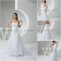 Aliexpress.com : Buy High Quality A line Strapless Court Train Lace and Satin with Ruched Wedding Dresses from Reliable satin and lace wedding dresses suppliers on HONEYSTORE CO., LIMITED $522.48