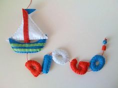 Boat Felt Name Banner - Navy kids room decor - made to order - 5 letters - vertical via Etsy Felt Name Banner, Name Banners, Bunting Garland, Garlands, Felt Mobile, Ideas Geniales, Love Sewing, Felt Ornaments, Diy Projects To Try