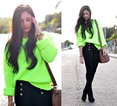 Black & Fluor... (by Alba .) http://lookbook.nu/look/4136408-Black-Fluor