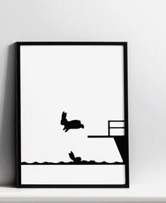 Diving Rabbit Screen Print