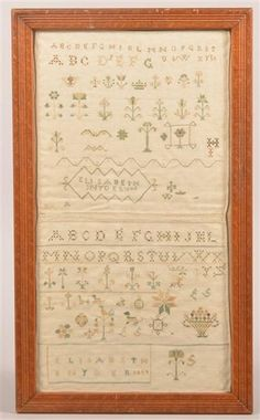 Two Rowed Type Pennsylvania Cross Stitch Samplers Sewn Together. Signed Elisabeth Snyder, dated 1843 & 1844