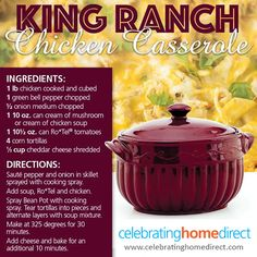 You'll LOVe this King Ranch Casserole recipe for your bean pot!