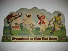 RARE ANTIQUE 1918 WILSON ADVERTISING DISPLAY SIGN BASEBALL FOOTBALL GOLF TENNIS (10/24/2013)