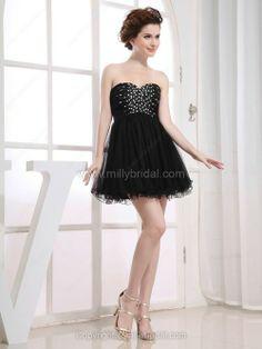 A-line Sweetheart Tulle Short/Mini Beading Cocktail Dresses