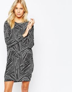Y.A.S Junction Casual Dress With Long Sleeves in Black/White Size L UK 12/EU 40