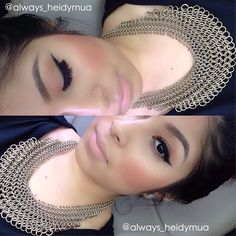 always_heidymua creates a warm soft look with nude lips, winged eye, and rosy blush