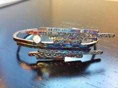 Silver cuff stack of stix cuff bracelet