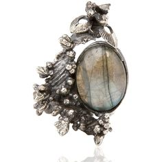 YUKIE DEUXPOINTS Labradorite Ring (29.100 RUB) ❤ liked on Polyvore featuring jewelry, rings, accessories, jewels and silver