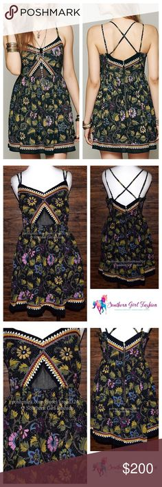 FREE PEOPLE Dress Floral Printed Eyelet Flare Mini Size 6 (Small).  New Without Tags. $148 Retail + Tax.  • Beautiful and sophisticated, this floral printed mini dress will be your new favorite.   • Features intricate mesh detailing at front bodice, all-over floral print and back zip closure.  • Fully lined; 2 front pockets.  • Measurements provided in comment(s) section.     {Southern Girl Fashion - Closet Policy}   ✔Bundle discount: 20% off 2+ items.   ✔️ Items are priced to sell…
