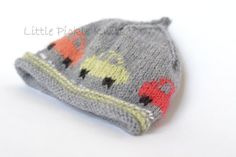 Baby Knitting Pattern Little Cars Beanie PDF by littlepickleknits Knitting Patterns Boys, Christmas Knitting Patterns, Crochet Patterns, Knitting Projects, Beanie Babies, Baby Hats, Intarsia Knitting, Arm Knitting, Knitting Charts