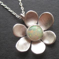 Opal Daisy Necklace by sudlow on Etsy, $75.00