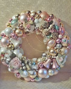 SOLD - Similar Custom Orders Available.  Shabby Chic Pink Rose Vintage Ball Ornament Wreath Mercury Glass  Shiny Brite Ornaments Victorian