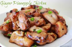 This Ginger Pineapple Chicken is light and fresh and perfect to eat as an appetizer or in a salad!