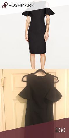 Black Zara dress Cute Zara dress that I wore ONCE for a wedding. It fits great in all the right places and really makes your midsection look tiny. Really good quality material. The sleeves are cute and cover up larger arms like mine Zara Dresses Midi