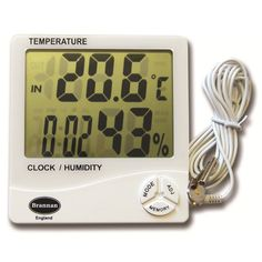 Jumbo digital max min thermometer with white moulded case with two displays for indoor temperature and humidity or outdoor temperature. Complete with 2m long cable for the outdoor probe. This max min thermometer has a hanging hook and stand for easy positioning.