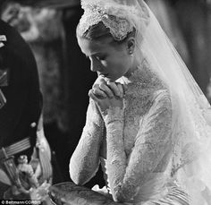 From movie star to royalty: Kelly at her wedding to Prince Rainier of Monaco on April 20, 1956
