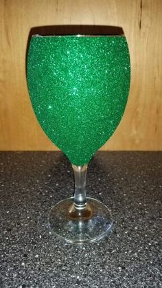 Emerald green glitter glass
